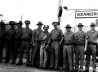 New York State Police contingent guarding the safe of the Bank of Rome on the return of the Sea Level 11 from the saturation diving expedition to the Andrea Doria. Montauk, New York, September 1981.