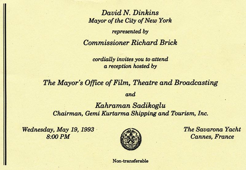 Scrapbook richard brick invitation to new york city moftb gala reception aboard the savarona yacht cannes film festival may 19 1993 stopboris Images