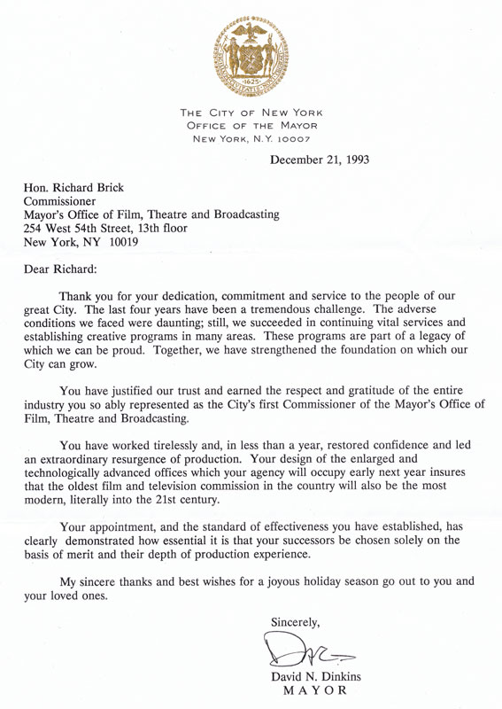 thank you letter. Mayor David N. Dinkins letter