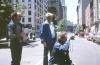 Milos Forman (looking through director's finder), Richard Brick (left) and Ed Quinn, key grip, on <em>Ragtime,</em> New York, 1980. Photo by Michael Hausman, executive producer.